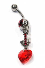 Navelpiercing strass hangend hart rood - 5 cm lang