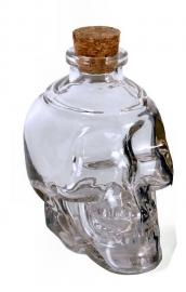 Glazen doodskop fles doorzichtig 11,5 cm hoog