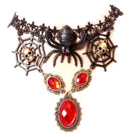Zwarte kanten vampierenketting choker met doodskoppen en rode strass stenen