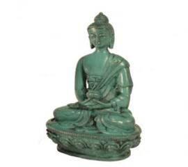 Thais boeddha beeld groene hars 11 cm hoog