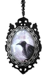Curiology nekketting - Raven cameo - 7.5 x 3 cm