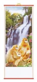 Chinese scroll gouden apen bij waterval