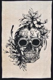 Bedsprei wandkleed eenpersoons Day of the Dead doodskop met rozen zwartwit - 120 x 220 cm