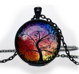 Glazen hanger met ketting Regenboog Levensboom