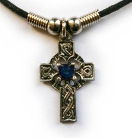 Ketting Keltisch Kruis met blauw steen - 3 cm hoog