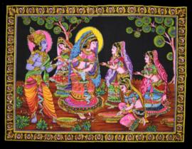 Muurkleed Krishna en Rhada dansend in maanlicht  - 80 x 110 cm