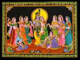 Muurkleed Krishna en Rhada en meisjes spelend muziek - 80 x 110 cm