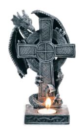 Theelichthouder Keltisch Kruis met Draak - 23 x 14 x 12 cm