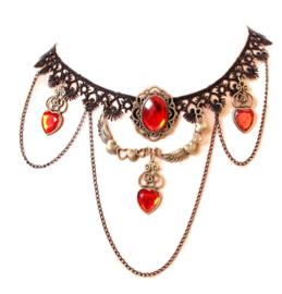 Zwarte kanten vampierenketting choker met hartvormige rode strass stenen en hartjes met vleugels