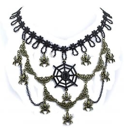 Eye of the Spider - Gothic zwarte kanten choker met brons accenten