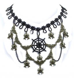 Eye of the Spider - Gothic black choker met brons accents