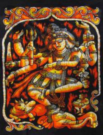 Indiase wandkleed muurkleed katoen dansend Shiva en Nandi oranje - c.a.  80 x 110 cm