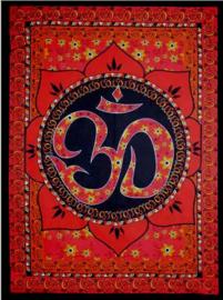 Indiase bedsprei wandkleed OHM in Lotus rood - 130 x 190 cm
