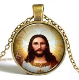 Glazen hanger met ketting Christus dessin 4