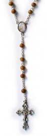 Rozenkrans St. Bernadette - bruine houten kralen