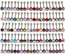 50 stalen tong piercingen met logo