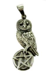 925 sterling zilveren kettinghanger Uil op Pentagram Lisa Parker 4.5 cm lang
