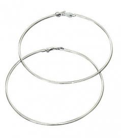 Zilverkleurige creool hoep oorbellen  - 8 cm