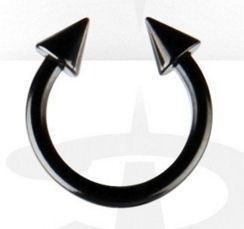 Wenkbrauw- neus- lippiercing zwart hoefijzer met puntjes