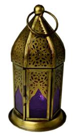 Lantaren paars glas - 8 x 14 cm