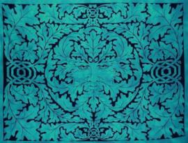 Bedsprei wandkleed grand foulard Indiase katoen Groene Man 220 x 224 cm