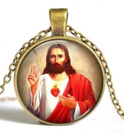 Glazen hanger met ketting Christus dessin 2