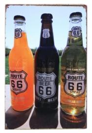 Blikken metalen wandbord Route 66 Beer - 20 x 30 cm