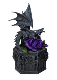 Sieradendoos met draak en paarse roos  - Dragon Beauty - Anne Stokes - *beschadigd*