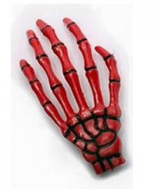 Harajuku skeletale hand haarschuifje rood