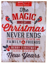 Houten wandbord - Magic of Christmas - 45 x 33 cm