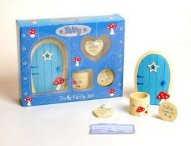Fee deur en tandefee doos blauw - 21 x 17 x 5 cm