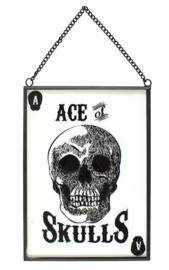 Ace of Skulls - glazen wandbord - 18 x 13 cm