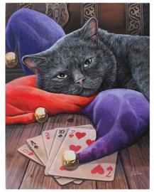 Jester - kat met spelkaarten - wandbord van Lisa Parker - 25 x 19 cm