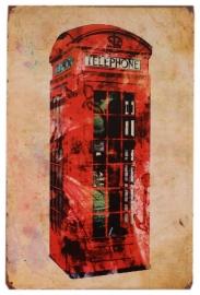 Blikken metalen wandbord Britse telefooncel 2 - 20 x 30 cm