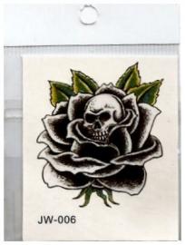 Plaktoeage zwarte roos met doodskop