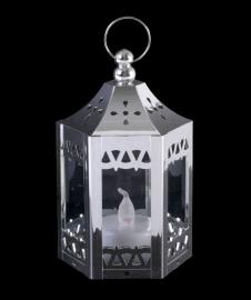 Zilverkleurige led lantaren 11.5 cm hoog