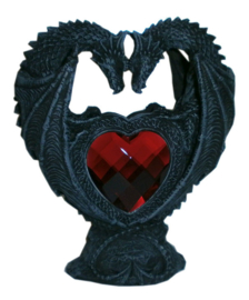 Loving Dragons - Gothic draken met rood acryl hart - 15 cm hoog