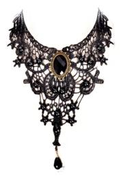 Black Brooch - Gothic zwarte kanten choker 8
