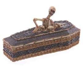 Sieradendoos skelet klimmend uit doodskist - 16 cm lang