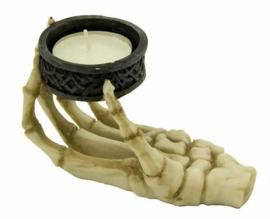 Theelichthouder skeletale hand - 11.5 x 6.5 x 7 cm