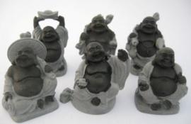 Set van 6 Happy Boeddha's Hematiet - 3,5 x 5,5 cm