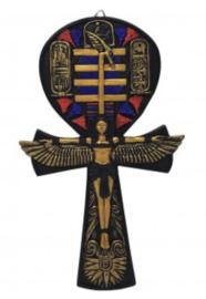Egyptische wandplaat Isis in vorm van een Ankh - 19 cm hoog