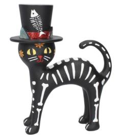Cat in a hat - Baron Samedi - Dag van de doden kat met hoge hoed - 20.7 cm