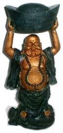 Happy Boeddha goud groen staand