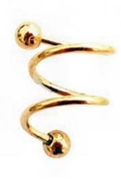 Gouden stalen spirale piercing