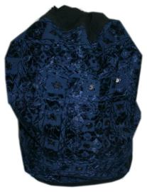 Indiase rugzak katoen met satijnen draad en spiegeltjes - donker blauw