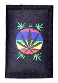 Portemonnee - Cannabisblad in cirkel - 13 x 9 cm