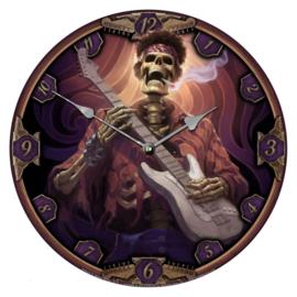 Klok - Dead Groovy - skelet met guitar en stikkie - dessin James Ryman - 34 cm