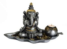 Theelichthouder Ganesh goud en zilver - 39 cm breed