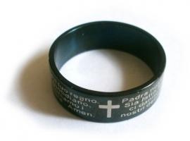 Zwarte stalen ring met Pater Noster gebed (Spaans)